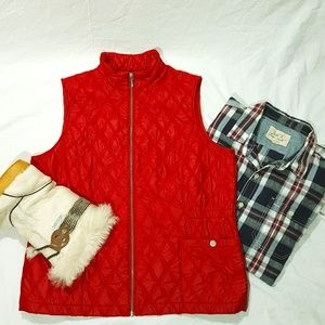 CHICO'S Zenergy Red Quilted Vest Size 2